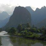 il mekong presso vang vieng - foto di andrea cassano