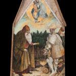 san giorgio e sant'antonio - pisanello - antico supporto di legno per la lavorazione del formaggio - foto di giovanni buscema & donato guerrini